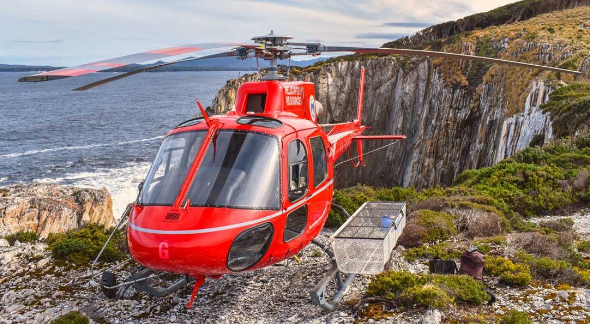 helicopter in Tasmanian Wilderness